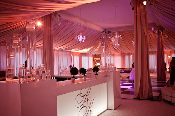 Tented wedding, initial glow bar, Congressional Country Club
