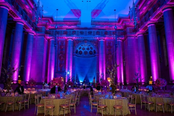 Fuchsia, purple and green, Andrew Mellon Auditorium